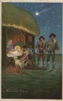 Italian art postcard, Christmas s: Colombo, Olasz művészeti képeslap, karácsony s: Colombo