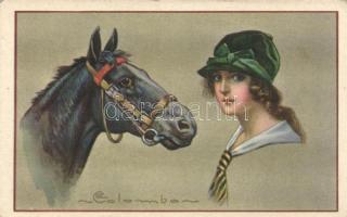 Italian art postcard, horse s: Colombo, Olasz művészeti képeslap, ló s: Colombo