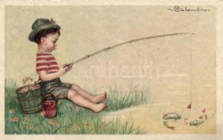 Italian art postcard, fishing 'Ultra No. 2321.' s: Colombo, Horgászú kisfiú, olasz művészeti képeslap, 'Ultra No. 2321.' s: Colombo