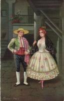 Italian art postcard, Spanish couple 'Ultra No. 2124.' s: Colombo, Olasz művészeti képeslap, spanyol pár 'Ultra No. 2124.' s: Colombo
