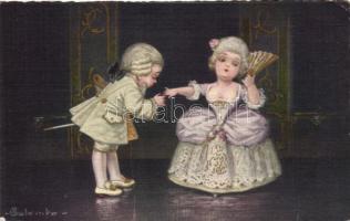 Italian art postcard, Baroque s: Colombo, Olasz művészeti képeslapok, barokk s: Colombo