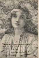 Floral art postcard s: Henry Ryland, Lány virágokkal, s: Henry Ryland