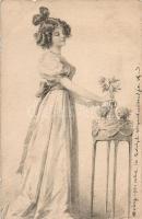 Etching style art postcard, Rézkarc stílusú művészeti képeslap