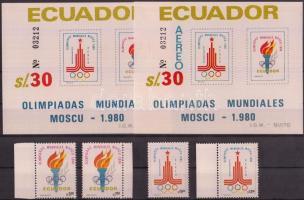 1980 Nyári olimpia sor Mi 1864-1867 + blokkpár 95-96 azonos sorszámmal
