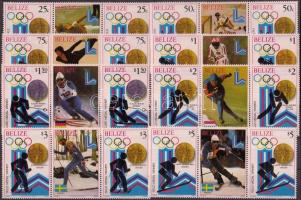 1980 Téli olimpia érmesei 2 sor Mi 501-508 szelvényes hármascsíkokban + blokksor 20-21