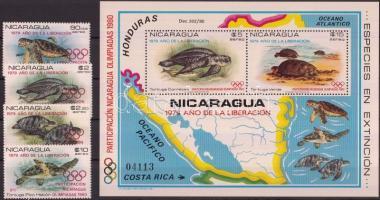 1980 Analfabetizmus elleni kampány; Nicaragua részvétele az olimpián sor Mi 2099-2102 + blokk 114