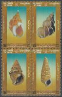Sea snail shells block of 4, Tengeri csigák házai négyestömb