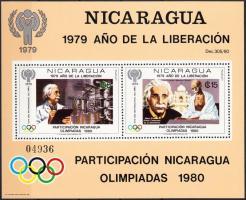 1980 Nicaragua részt vesz az olimpián; Einstein blokk Mi 113