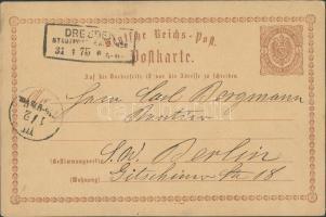 1875 Díjjegyes levelezőlap Drezdából Berlinbe