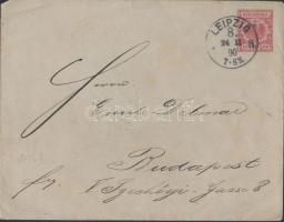 1890 Díjjegyes levél Delmar Emil műgyűjtőnek Budapestre, hátoldalán a Senf cég levélzárójával