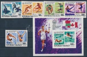 1976 Olimpiai éremgyőztesek vágott sor felülnyomással Mi 822-826 + vágott blokk Mi 16