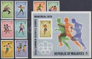 1976 Montreali nyári olimpia vágott sor Mi 663-670 + vágott blokk Mi 40