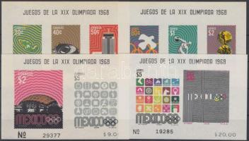 1968 Olimpia Mexikóváros blokksor Mi 15-18 (2 blokk felül besárgult / 2 blocks yellowish gum)