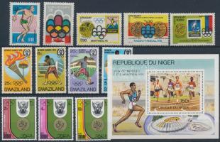 Olympic motif items 12 stamps + a block, Olimpia motívum tétel 12 db bélyeg + 1 db blokk