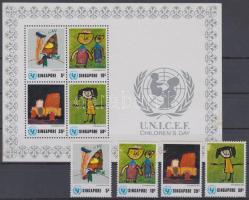 1974 UNICEF gyermeknap sor Mi 221 A - 224 A + blokk Mi 6