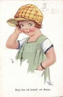 Kislány,  A.R. & Co., I.B. 1528-4. szignózott, Jetzt bin ich beinah' ein Junge, A.R. & Co., I.B. 1528-4. artist signed