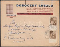 1945 (1. díjszabás) Nyomtatvány 2x Hadvezérek 2x 10f bélyeggel, helytelenül bérmentesítve
