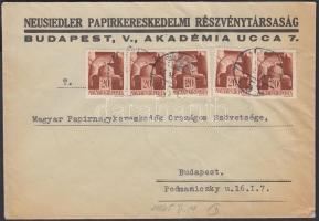 1945 (1. díjszabás) Helyi levél 250g-ig 5x Hadvezérek 20f bélyegekkel bérmentesítve