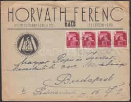 1945 (1. díjszabás) Távolsági levél 4x Hadvezérek 30f bélyegekkel túlbérmentesítve (hátuljából kivágott darab)
