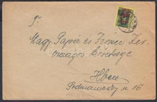 1945 (1. díjszabás) Helyi levél Kisegítő 60f/8f bélyeggel kissé túlbérmentesítve