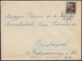 1945 (1. díjszabás) Helyi ajánlott levél Kisegítő 2P/2P bérmentesítéssel