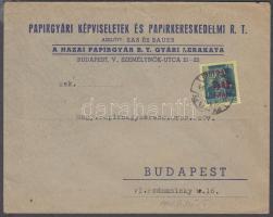 1945 (1. díjszabás) Helyi céges levél Kisegítő (Hadvezérek) 50f/50f bérmentesítéssel