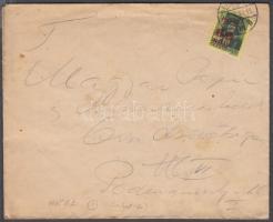 1945 (1. díjszabás) Helyi levél Kisegítő 60f/8f bélyeggel 10f-el túlbérmentesítve