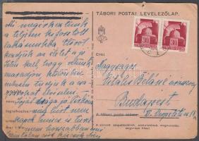1945 (1. díjszabás) Távolsági levelezőlap Hadvezérek 2x 30f bérmentesítéssel