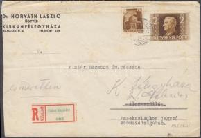 1945 (1. díjszabás) Távolsági ajánlott levél Hadvezérek és Horthy 2P bélyegekkel bérmentesítve, ismeretlen címzett JÁSZSZENTLÁSZLÓ LEVÉLSZEKRÉNYBŐL