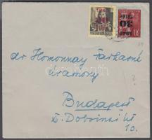 1945 (1. díjszabás) Helyi levél Kisegítő 20f/18f + 30f/30f bérmentesítéssel, cenzúra bélyegzéssel