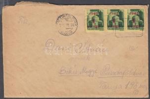 1945 (2. díjszabás) Távolsági levél teljes tartalommal 3x Kisegítő 1P/1P bélyeggel, postaügynökségi bélyegzéssel