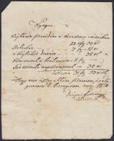 cca 1850 Olaszliszka környéki földbirtokosok által aláírt 3 db magyar nyelvű nyugta
