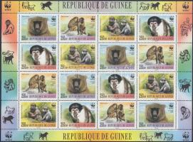 Guinea WWF Monkies sheet with 4 sets, Guinea WWF Majmok 4 sort tartalmazó ívben