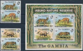 1976 WWF: Abuko Természetvédelmi Terület sor Mi 332-335 + blokk Mi 2 (apró betapadásnyom)