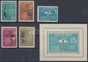 1962 Tokiói nyári olimpia sor Mi 657 A-661 A + blokk Mi 8 A