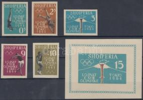 1962 Tokiói nyári olimpia vágott sor Mi 657 B-661 B + vágott blokk Mi 8 B