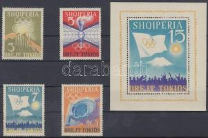 1964 Tokiói nyári olimpia sor Mi 823-826 + blokk Mi 22