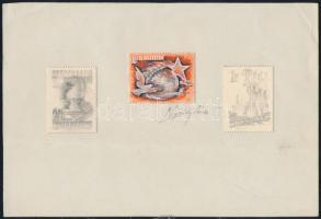 ~1950 Légrády Sándor, színes és mérethű bélyegterve, tempera + Sakk ill. Május 1. grafit skicc, mindhárom kifogazott papíron, papírlapra ragasztva, szignózott / 3 stamp sketches of S. Légrády