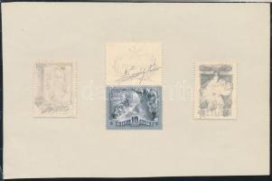 ~1950 Légrády Sándor szelvénnyel kidolgozott, mérethű bélyegterve, tempera és grafit + 2 db grafit skicc, mindhárom kifogazott papíron, papírlapra ragasztva, szignózott / 3 stamp sketches of S. Légrády