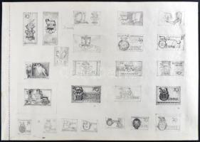 ~1960 Légrády Sándor a római olimpiára készített, 24 db bélyegtervet bemutató vázlatfüzet lapja (34.5 x 24 cm), a grafit skiccek képi, formai és tipográfiai változatokat mutatnak be, egyedülálló darab! / A page of a scetchbook of S. Légrády with 24 sketches for the Olympic games Rome issue. A unique piece!