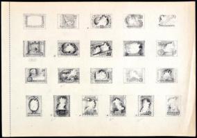 ~1950 Légrády Sándor 21 db sport témájú bélyegtervet bemutató vázlatfüzet lapja (34.5 x 24.2 cm), a klf fázisú grafit skiccek képi, kompozíciós és tipográfiai változatokat mutatnak be, egyedülálló darab! / A page of a scetchbook of S. Légrády with 21 sketches for Sports stamps. A unique piece!