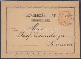 1874 Díjjegyes levelezőlap / PS-card VOJTEK TEMES M.