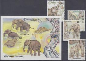 2000 Elefántok sor + blokk Mi 855-858 + Mi 74
