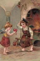Children, golden decoration, litho, Emb, Gyerekek, dombornyomott, arany díszítéssel, litho