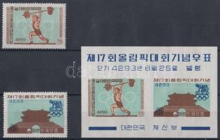 1960 Római nyári olimpia sor Mi 307-308 + blokk Mi 148