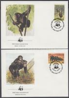 1983 WWF: Csimpánzok sor 4 db FDC-n Mi 713-716