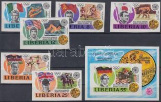 1973 Nyári olimpiai aranyérmesek vágott sor Mi 855-860 + vágott blokk Mi 64