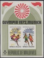 1973 Nyári olimpiai aranyérmesek vágott blokk felülnyomással Mi 15 B