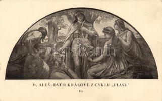 Cseh művészeti képeslap, Dvur Kralove z cyklu 'Vlast' s: M. Ales, Dvur Kralove z cyklu 'Vlast' / Czech art postcard s: M. Ales
