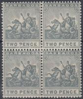 1909 Mi 82 négyestömb, 3 bélyeg postatiszta